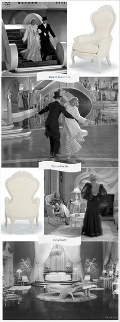 """Join Dec-a-Porter & House Beautiful's """"Beautiful in Black & White"""" Chair Scavenger Hunt with Frongate and win!  #hbchairs #oscars Top Hat from 1935 Old Hollywood glam with Fred Astaire and Ginger Rogers"""