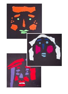 Torn Paper Face Collage - color, shape, and negative space - inspired by Eldes Oliveira