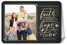 The Gift Of Faith Religious Christmas Card, Rounded Corners, Grey
