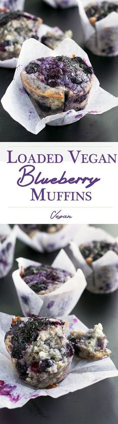 Delicious, fully loaded Vegan Blueberry Muffins. ~ vegan recipe, breakfast| healthy recipe ideas
