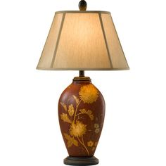 Hand Painted Porcelain Sienna Red Floral with Espresso One-Light Table Lamp