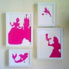 Disney Princess Silhouettes. DIY. Just print a princess on a colored piece of paper, cut it out, glue it to a solid background, and frame. Voila. You could even color photo copy your glued on pic.