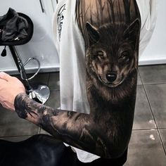 Full Sleeve Wolf Tattoo