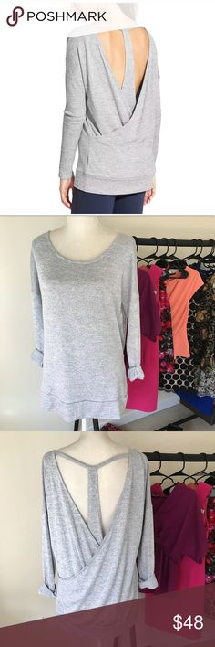 Athleta Soft Pose Layered Top Super soft knit top from Athleta. Soft dove grey. Size Medium. Excellent pre-owned condition. No trades. Athleta Tops Tunics