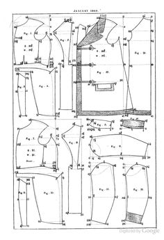 Draft of smoking jacket in January 1869 Journal des Tailleurs.