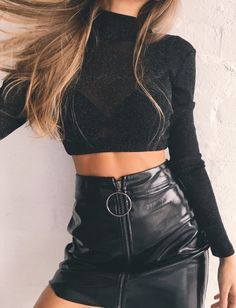 """The post """"Vega Leather Skirt – Riot Bae"""" appeared first on Pink Unicorn Outfit Club Outfits For Women, Trendy Outfits, Fashion Outfits, Outfits For Parties, Cute Party Outfits, Holiday Outfits, Skirt Fashion, Fashion Fashion, Fashion Ideas"""