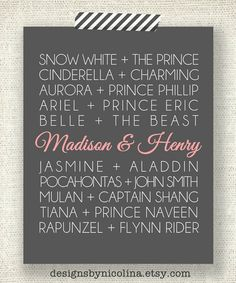 DISNEY PRINCESS COUPLES - 8 x 10 Custom Designed Wall Art - Disney Princess and their Princes with your names added in
