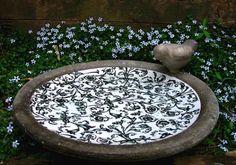 Aged Ceramic Ground Bird Bath