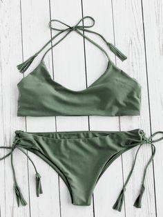 ¡Cómpralo ya!. Tassel Tie Halter Bikini Set. Green Bikinis Sexy Vacation Halter Top Polyester YES Swimwear. , bikini, bikini, biquini, conjuntosdebikinis, twopiece, bikini, bikini, bikini, bikini, bikinis. Bikini  de mujer   de SheIn.