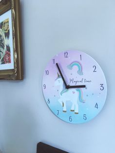 """""""Magical Time"""" Pastel Ombre Unicorn Wall Clock"""