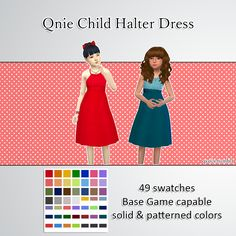 "qvoix: "" peekaboo simmers :> here's a halter dress… type of dress.. thingy for your child :D hope y'all like it, contains the solid colors that I use often and also some patterned versions. happy..."