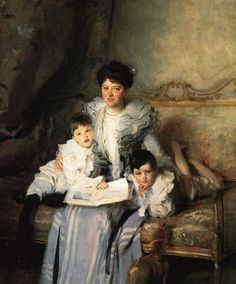 Beautiful Blues & Greens   of John Singer Sargent 1856-1925  Mrs Arthur Knowles and her Two Sons