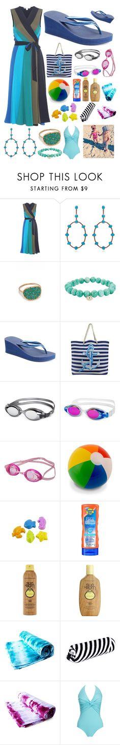 """Mom @ the Beach"" by pinkstars6 ❤ liked on Polyvore featuring Diane Von Furstenberg, Carla Amorim, Ginette NY, Sydney Evan, Havaianas, Speedo, Hape, Banana Boat, Forever 21 and Sun Bum"