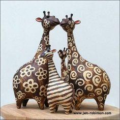 wooden giraffe family