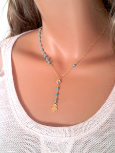 hamsa necklace turquoise gemstone 14kt by divinitycollection 6900