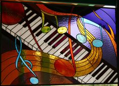 Jazz Piano - Rosemary Taylor | Vibrant colors and several different textures of glass have been used to give the feeling of a lively jazz session.