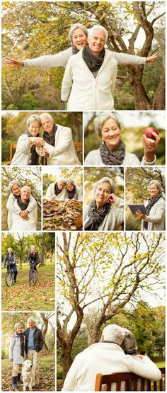 Happy elderly couple in autumn park - Stock photo