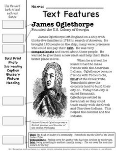 SS2H1GEORGIA HISTORICAL FIGURES-OGLETHORPE, MUSGROVE, TOMOCHICHI, SEQUOYAH - 2nd Grade Social Studies standard SS2H1, is about James Oglethorpe, Mary Musgrove, Tomochichi and Sequoyah and their contributions to the state of Georgia and our nation.  This unit includes •	Text Feature Review Page about each historical figure (four) •	Performance Task - Postcard to the historical figure thanking them for their accomplishments (four). •	TWO Final Assessments and Answer Keys