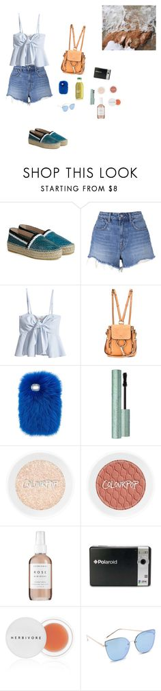 """""""beach"""" by hailey3731 ❤ liked on Polyvore featuring T By Alexander Wang, H&M, Chloé, Wild & Woolly, Too Faced Cosmetics, Herbivore, Polaroid and Quay"""