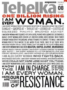 """I am every woman who fights back."" Special cover of Tehelka magazine in India to celebrate #1billionrising today"