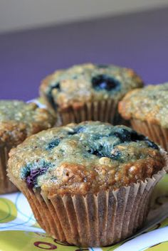 Life's Too Short to Skip Dessert: Healthy Blueberry Bran Muffins   I can't really say healthy with the white sugar. But it's got some good things in it.