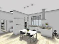 Review of #RoomSketcher, an online home design software | Contemporary and minimalistic open space | Bells and Feathers  #renderings
