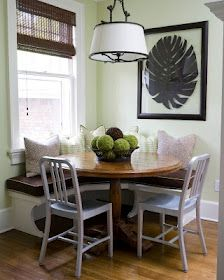 Navy chair and wooden table