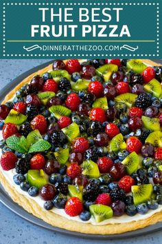 This fruit pizza is a sugar cookie crust topped with cream cheese frosting and a variety of fresh fruit. A fun and easy dessert option for a crowd! Fruit Pizza Cups, Fruit Pizza Frosting, Mini Fruit Pizzas, Easy Fruit Pizza, Healthy Fruit Pizzas, Fruit Pizza Recipes, Healthy Desserts With Fruit, Desert Pizza Recipes, Fruit Deserts Recipes