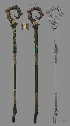Not being much of a fighter, she carries a simple staff around with her as some sort of protection. She's well-experienced with it. Anime Weapons, Fantasy Weapons, Fantasy Rpg, Medieval Fantasy, Staff Magic, Wizard Staff, Desenhos Cartoon Network, Dungeons And Dragons Homebrew, Fantasy Concept Art
