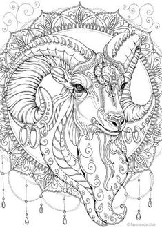 Goat - Printable Adult Coloring Page from Favoreads (Coloring book pages for adults and kids, Coloring sheets, Colouring designs) Coloring Pages For Grown Ups, Detailed Coloring Pages, Printable Adult Coloring Pages, Cute Coloring Pages, Mandala Coloring Pages, Animal Coloring Pages, Coloring Pages To Print, Coloring For Kids, Coloring Sheets
