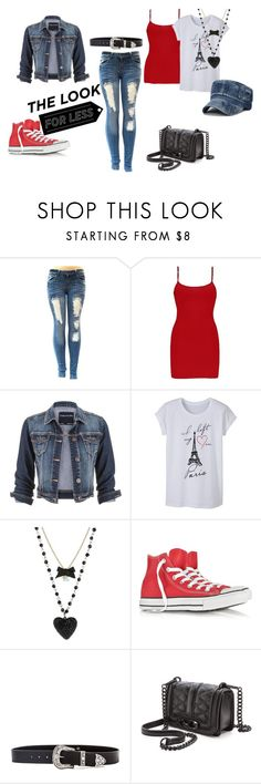 """""""Denim Outfit"""" by sugartwin-reeves ❤ liked on Polyvore featuring BKE, maurices, Betsey Johnson, Converse, B-Low the Belt and Rebecca Minkoff"""