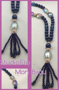 Navy is the color of Spring. This beautiful long necklace is one of my favorite creations for this season... I love the hand made beaded tassel...I love the rose gold mixed with navy because it look softer ...and I'm sure you'll love this necklace also ...