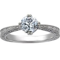 Vintage Engagement Ring Delicate Antique Scroll Brilliant Earth