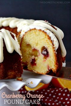 Made this one--yum! This Cranberry Orange Pound Cake is fabulous for the holidays! Moist, buttery pound cake studded with juicy, bright cranberries and zesty orange and topped with a smooth cream cheese glaze. Easy and impressive! Cream Cheese Glaze, Cake With Cream Cheese, Easy Desserts, Dessert Recipes, Pound Cake Recipes, Cupcake Cakes, Bundt Cakes, Food Cakes, Cupcakes