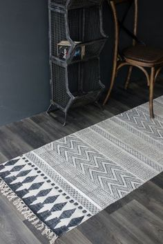 Hand Printed Natural Rug Runner 70cm x 240cm