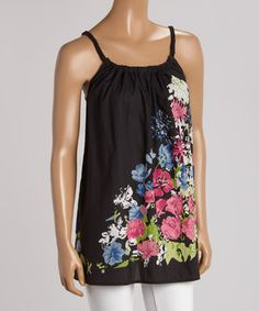 Love this Black Floral Swing Tank by Just Funky on #zulily! #zulilyfinds