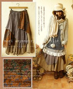 mori crazy asymmetrical skirt I like the skirt - but the whole layered outfit is a bit much. Mori Mode, Mori Girl Fashion, Forest Girl, Bohemian Mode, Altered Couture, Japanese Street Fashion, Mode Style, Diy Clothes, Cute Outfits