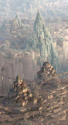 Mathew Borrett at Art Toronto 2015 Fantasy City, Fantasy Castle, Fantasy Places, Fantasy Kunst, Sci Fi Fantasy, Fantasy World, Fantasy Artwork, Fantasy Art Landscapes, Fantasy Concept Art