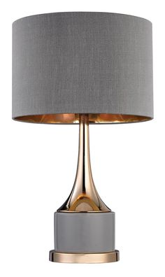 Features:  -Shade type: Grey faux silk round hardback with rolled edges and gold foil liner.  -Bulb type: 100W Medium base bulb.  Fixture Finish: -Gray and gold.  Base Color: -Gray/Metallic. Dimension