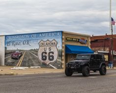 https://flic.kr/p/xXzFtR | Traveling on Route 66 | Mural depicting Route 66 in El Reno, Oklahoma.