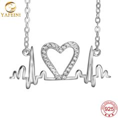 YAFEINI 925 Sterling Silver Heartbeat Shape Pendant Necklace With Charm Crystal 18 inches Chain GNX8854 #Affiliate