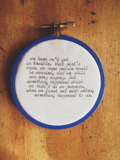 moonrise kingdom quote / blue / wall hanging hoop / cursive type / rugglesmade. $22.00
