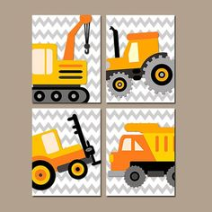 Construction Boy Wall Art Nursery  Child Artwork Transportation Orange Dump Truck Forklift Tractor Chevron Set of 4 Prints Bedroom on Etsy, $38.00: