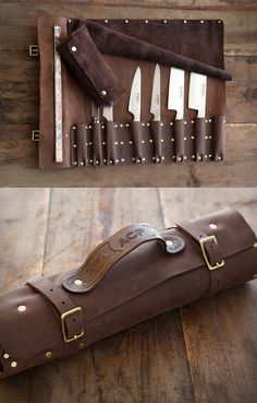 The Goodson Leather Knife Roll is a customizable carrying case for knives and other kitchen utensils & tools. You choose the color/type of leather, the number Leather Roll, Leather Tooling, Leather Craft, Leather Wallet, Leather Bag, Crea Cuir, Case Knives, Leather Apron, Leather Workshop