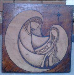 Sagrada Familia. Pirograbado en madera.