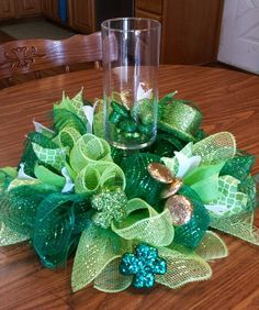St Patricks Day centerpiece 12 inch round by NancysNowandForever on Etsy