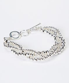 Take a look at this Silver-Plated Triple-Strand Bead Bracelet today!