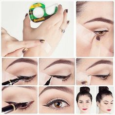 eyeliner with scotch tape- Makeup tricks every girl should know Eyeliner Hacks, Eyeliner Tape, Tape Makeup, Eyeliner Styles, How To Apply Eyeliner, Skin Makeup, Makeup Tips, Beauty Makeup, Eyeliner Brands