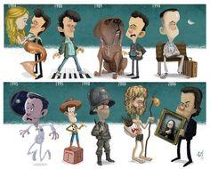 La carrera de los actores en dibujos