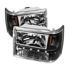 1993-1998 Jeep Grand_Cherokee Spyder 1Pc Crystal Headlights - Black